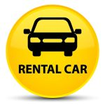 Rental car isolated on special yellow round button abstract illustration